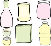 Generic Food Packages. Drawings of a generic bottle, jars, box and bag used for food and drinks stock illustration