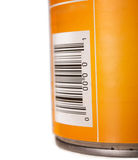Generic food tin can with bar code Royalty Free Stock Image