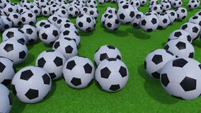 Generic football balls rolling and bouncing on green grass field. 4K ProRes clip. Multiple football balls rolling on green grass field. 4K ProRes animation vector illustration