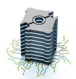 Generic futuristic network server on PCB board. 3D illustration royalty free illustration