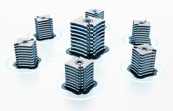 Generic futuristic network servers connected to each other. 3D illustration.  vector illustration