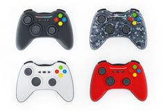 Generic game controllers isolated on white background. 3D illustration royalty free illustration