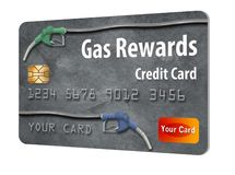 This is a generic gasoline rewards credit card. Gas rewards on a gas company credit card is the theme of this illustration of generic card with hoses and pump stock illustration