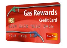 This is a generic gasoline rewards credit card. Gas rewards on a gas company credit card is the theme of this illustration of generic card with hoses and pump royalty free illustration
