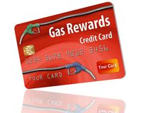 This is a generic gasoline rewards credit card. Gas rewards on a gas company credit card is the theme of this illustration of generic card with hoses and pump vector illustration