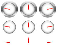 Generic gauges, dials with red clock hand, pointer Royalty Free Stock Image