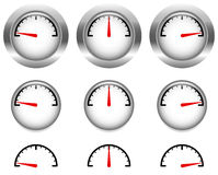Generic Gauges, Dials With Red Clock Hand, Pointer Stock Photography