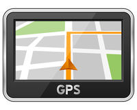 Generic GPS Navigation Device. With map and path, isolated on white background. Eps file available royalty free illustration