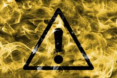 Generic hazard warning smoke sign. Triangular warning hazard sign, smoke background. royalty free illustration