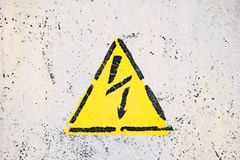 Generic High Voltage Danger Sign, symbol. Warning icon. stock image
