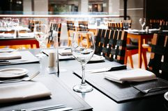 Restaurant table. Generic image restaurant table background royalty free stock images