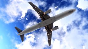 Generic jet airliner in a beautiful cloudy sky 3d rendering. Generic jet airliner in a beautiful cloudy sky Stock Photography
