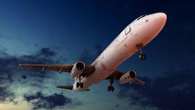 Generic jet airliner in a beautiful cloudy sky 3d rendering. Generic jet airliner in a beautiful cloudy sky Royalty Free Stock Images