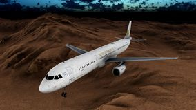 Generic jet airliner in a beautiful cloudy sky 3d rendering. Generic jet airliner in a beautiful cloudy sky Stock Images