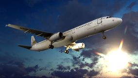 Generic jet airliner in a beautiful cloudy sky 3d rendering. Generic jet airliner in a beautiful cloudy sky Royalty Free Stock Photography