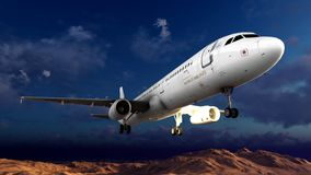 Generic jet airliner in a beautiful cloudy sky 3d rendering. Generic jet airliner in a beautiful cloudy sky Royalty Free Stock Photos