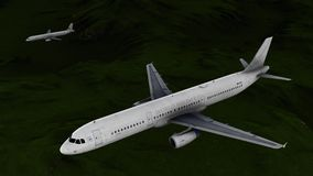 Generic jet airliner in a beautiful cloudy sky 3d rendering. Generic jet airliner in a beautiful cloudy sky Stock Photos