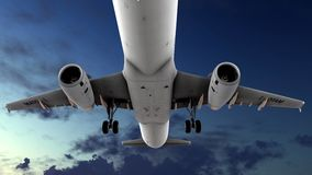 Generic jet airliner in a beautiful cloudy sky 3d rendering. Generic jet airliner in a beautiful cloudy sky Royalty Free Stock Photo