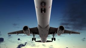 Generic jet airliner in a beautiful cloudy sky 3d rendering. Generic jet airliner in a beautiful cloudy sky Royalty Free Stock Image