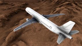 Generic jet airliner in a beautiful cloudy sky 3d rendering Royalty Free Stock Images
