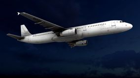Generic jet airliner in a beautiful cloudy sky 3d rendering Royalty Free Stock Photo