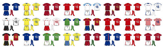 Generic Kits National Teams of Europe Royalty Free Stock Images