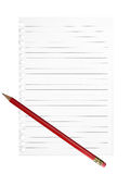 Generic list, message background. Lined page, paper with pencil. Stock Photography