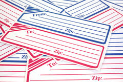 Generic mailing labels. Close view of several generic mailing labels Stock Photos