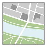 Generic Map Flat Icon Isolated on White. Generic nameless city map flat icon with streets, green belts and a river, isolated on white background. Eps file stock illustration