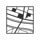 Generic Map Outline Flat Icon on White. Generic nameless city map outline flat icon with streets and a river, isolated on white background. Eps file available vector illustration