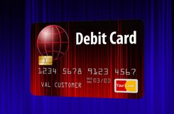 Generic mock bank debit card i. Here is a generic mock bank debit card isolated on the background royalty free illustration