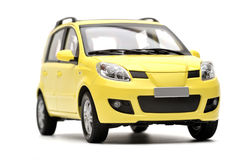 Generic modern yellow family car model Royalty Free Stock Image