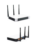 Generic networking device router. Generic Internet networking device router isolated over the white background, set of two different foreshortenings Stock Photo