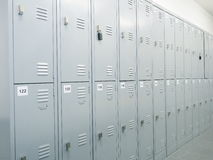 Generic numbered row of grey metal lockers in a change room Stock Photography