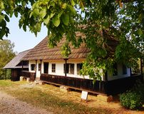 Generic old village house. Transilvania europe trees summer houses museum outdoor stock photo