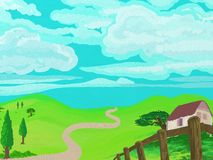 Generic painted style countryside Stock Photos