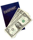 Generic passport and dollars. On white stock photography