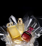 Generic perfume bottles in a gift set stock photos