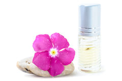 Generic Perfume and Purple Flower on stone, white background Royalty Free Stock Photos