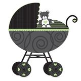 Generic Pram. Illustration of a pram with teddy bear Stock Photography