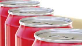 Generic red aluminum cans moving on conveyor. Soft drinks or beer production line. Recycling packaging. 3D rendering Stock Photography