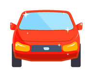 Generic red car luxury design flat vector illustration  on white. Stock Image