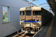 Generic regional commuter train in Chugoku. Region, Japan stock images