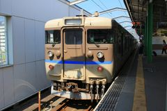 Generic regional commuter train in Chugoku. Region, Japan stock photography