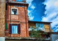Generic residential architecture in Trastevere. ROME, ITALY - MAY 17, 2017: View of some Generic residential buildings in Trastevere, Rome, Italy Royalty Free Stock Photography