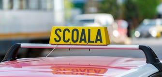 Generic Romanian driving school car sign Stock Photography