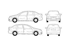 Generic Saloon Car Diagram. With sides, front and rear views stock illustration