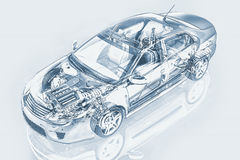 Generic sedan car detailed cutaway representation. Generic sedan car detailed cutaway representation, with ghost effect, in pencil drawing style, on neutral Stock Photos