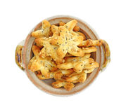 Generic Seeded Star Crackers. In a dish Stock Photo
