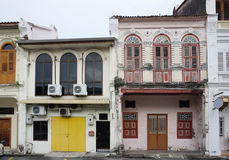 Generic shophouse building style in George Town Royalty Free Stock Photos